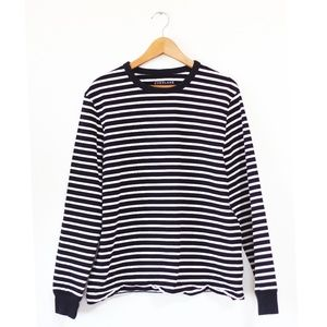 Everlane Black White Long Sleeve Striped Top L